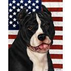 American Pit Bull Terrier Black and White Patriotic II Flag
