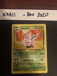 1999 Pokémon Card Nidorino. 37/102 Base Set M/NM PSA
