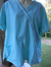 SB Scrubs Brand SCRUB TOP Size XL -  Solid Turquoise Color Matching Trim