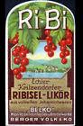 """ETIQUETTE ANCIENNE de Liqueur """"RI-BI / BELKO"""" RIBISEL / illustrée WIEN"""