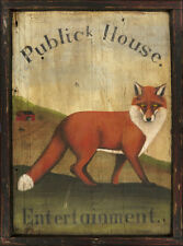 "Antique Look Repro of Original Art - Tavern Sign ""Public House"" Fox Hunt Horse"