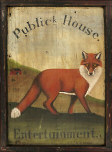 "Xlarge Antique Look Repro of Original Tavern Sign ""Public House"" Fox Hunt Horse"