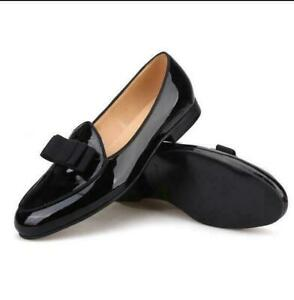 Handmade bowtie Genuine patent leather mens loafers slip on dress formal shoes