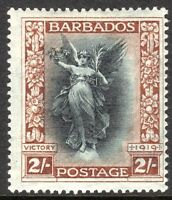 Barbados 1920 black/brown 2/- perf14 multi-crown CA mint SG210
