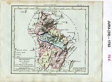 Dépt 39 - XVIII ème Carte du Jura Superbe Gravure Cuivre Aquarellée de 1792