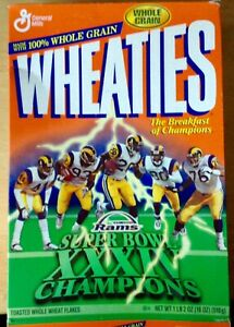 Wheaties St Louis Rams Football XXXIV Super Bowl Champions Cereal Box