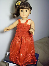 """18"""" doll clothes fit american girl, red lace and sequin dress set"""