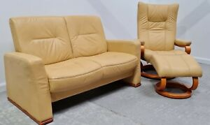 Himolla Leather 2 seater Non recliner & Recliner Chair Yellow 1606215