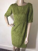 Vintage 1960s  Green Flocked & Gold Lurex Thread Shift Dress Size 8