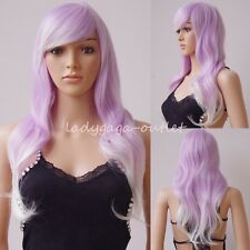 Long Cosplay Full Wig Lady Pastel Hair Fairy Halloween Dress Party Wavy Straight