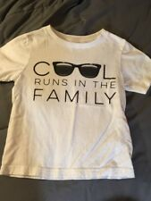 Children's Place COOL RUNS IN THE FAMILY T-Shirt Toddler Boy's Size 3T White Tee
