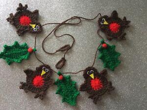 🎄CHRISTMAS Robins and Holly -Garland bunting Crochet Handmade Decor🎄