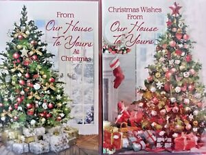 OUR HOUSE TO YOURS CHRISTMAS CARD ~ CHOICE OF 2 TREE DESIGNS QUALITY CARD
