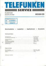 Telefunken Service Manual Stromlaufpläne HS 830 CD  B1411