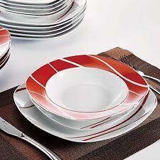 36-pieces Porcelain Crockery Ceramic Dinner Sets Red Stripes Dessert Soup Plate