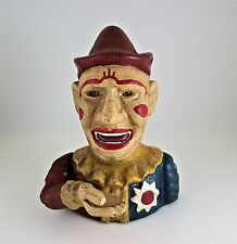 CAST IRON CLOWN MECHANICAL BANK MOVES TONGUES AND ROLLS EYES - SHIPS FREE