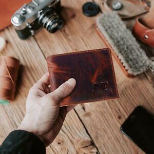 Dark Brown Handcrafted Genuine Buffalo Leather Men's Bifold Premium Wallet