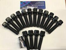 12 X M14X1.25 Negro Extendido Aleación Pernos De Rueda + 4 X Cerraduras 50 mm Mini Ajuste del hilo de rosca