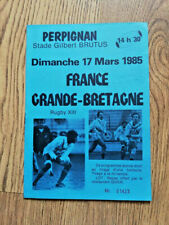 More details for france v great britain mar 1985 rugby league programme