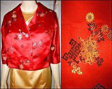 Sz L/XL Vintage 50s-60s Red Silk Asian Floral Cropped Bolero Jacket Shrug VGC