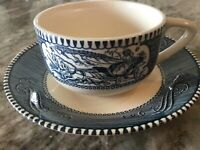 CURRIER AND IVES BLUE by Royal (USA) COFFEE CUP & SAUCER, Discontinued