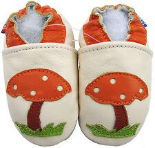 carozoo soft sole leather baby shoes mushroom cream 0-6m