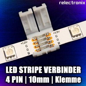 5 Stück - LED RGB Stripe Schnellverbinder - 4 Pin - 10mm - Klemmen (Clips)