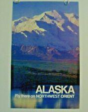 "NORTHWEST ORIENT AIRLINES POSTER  ""Alaska"" TRAVEL 1970-80'S ORIGINAL DELTA"