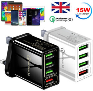 4 Multi-Port Fast Quick Charge QC 3.0 USB HUB Mains Wall Charger Adapter UK Plug