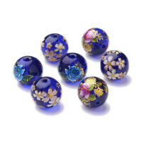 20× Mix Flower Picture Transparent Glass Round Bead Specialty Loose Spacer Craft