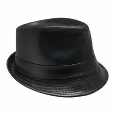 Calidad Mate Imitación de Cuero Elegante Clásico De Lujo De Poliéster Fieltro Sombrero-Negro