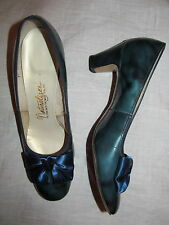 vintage Naturalizer teal blue tortoise patent leather satin bow shoes 8 Aaaa