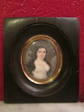 bello antica in miniatura fine 19 ° pittura su cartone ritratto donna quadro