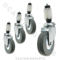 """SET OF 4 x 100mm 4"""" WHEEL SWIVEL CASTOR WITH EXPANDER FOR 30mm SQUARE LEG TUBING"""
