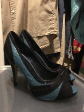 Women's Size 5 Shoes Blue Real Leather Peep Toes, Miss Selfridge Brand
