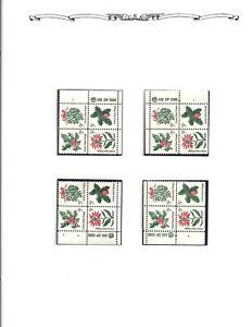 Matched ZIP Block Set – 1964 Christmas Issue (Scott 1254-57) MNH