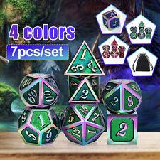 7Pcs/set Metal Polyhedral Dice Playing Game Poker Card Dungeons Dragons Party