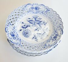 "4 Meissen Blue Onion Reticulated Pierced Plates 6"" Second Class 1824-1915"