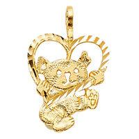 14k Solid Yellow Gold Diamond Cut Baby Teddy Bear Heart Pendant Charm