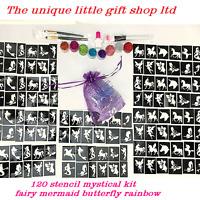 Mystical GLITTER TATTOO KIT 120 stencil 8 glitter  glue brushes OR REFILL ITEMS