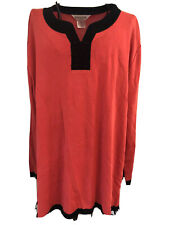 Exclusively Misook Woman Asian Chinese Mandarin Knot Orange Black L/S Top 1X