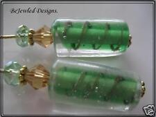 Green & Gold Swirl Barrel Lampwork Crystal Earrings Pierced  Clip On you choose