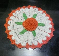 VINTAGE SWEET RED & WHITE HAND CROCHETED / TATTED DOILY W RED ROSE IN CENTER EUC