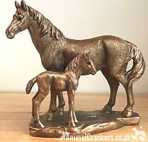 Horse & Foal ornament sculpture figurine Leonardo Bronzed Pony lover gift, boxed