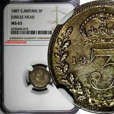 Great Britain Victoria Silver 1887 3 Pence NGC MS63 JUBILEE HEAD TONING KM# 758