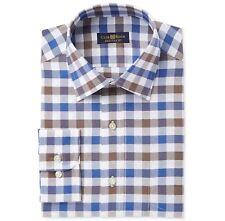 Nwt $89 Club Room Men'S Regular-Fit Blue White Check Button Dress Shirt 17 34/35