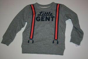New Carter's Boys 4T year Sweatshirt Top Pullover Handsome Little Gent Gray