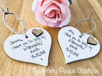 Personalised Wedding Heart Plaque gifts for Bridesmaids, Flower Girl, Page Boy
