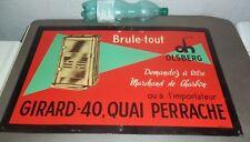 Ancienne plaque publicitaire tôle peinte POÊLE BRÛLE TOUT OH OLSBERG CHARBON.