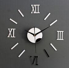 Trendy Wholesale 3D Silver Wall Clock Frameless Watch DIY Home Living Room Decor